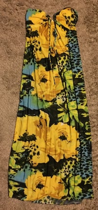 Yellow&green floral maxi dress size l