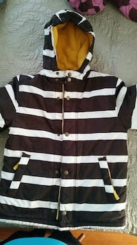 brown and white striped button-up hoodie