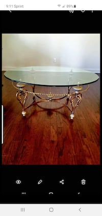 High End Glass & Gold Coffee Table