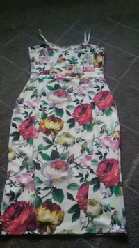 white, pink, and green floral sleeveless dress 5773 km