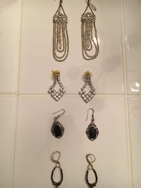 silver and black gemstone necklace and earrings set Fairfax, 22033
