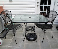 Patio Table Glass Top with 2 chairs + Umbrella Stand (Please read details below) Chantilly
