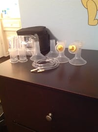 white electric breast pump set