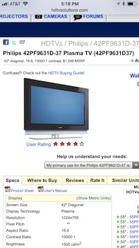 Phillips 42 inch plasma hdtv (you will need to purchase a wall mount)