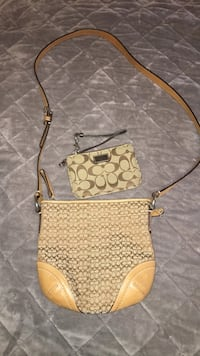 brown and beige Coach monogram crossbody bag and wristlet Vaughan, L4H 3T6