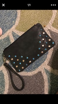 black and gray leather wristlet Surprise, 85379