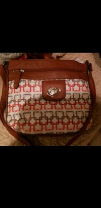 brown and red monogrammed Coach leather handbag San Antonio, 78239