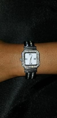 Silver Cuff Watch with Crystals
