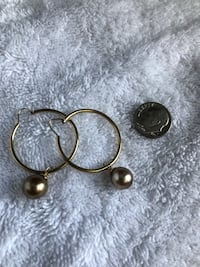 14 kt gold hoops with chocolate Tahitian pearls Makakilo, 96707