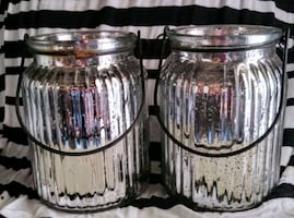 2 METALLIC SOLAR PANELED LIGHTS/ OR JUST FOR DECORATIION.