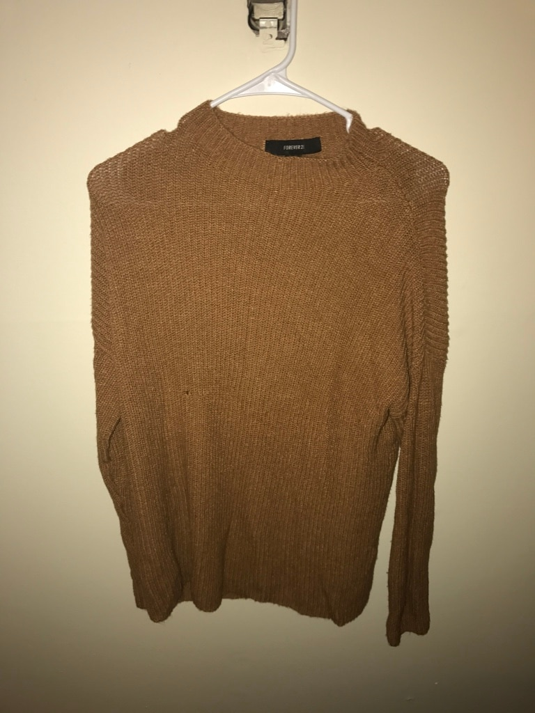 brown and black long sleeve shirt