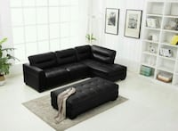 CLEARANCE] Chicago Black Leather Gel Sectional wit Houston, 77036