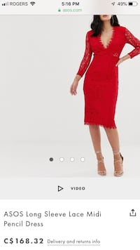 ASOS long sleeve lace medi pencil dress Georgina, L4P 0E2