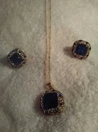 MULTI-COLORED NECKLACE AND PIERCED EARRING SET YGF