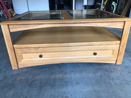 OAK COFFEE TABLE WITH GLASS INSERTS