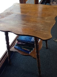 Brown wooden table..