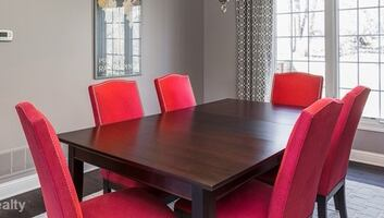 Crate and Barrel Dining Table with 8 Chairs and 2 Leaves