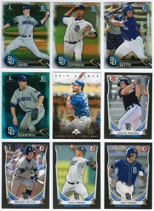 36 San Diego Padres Topps Bowman Chrome Refractor Parallel Baseball Card Lot