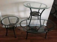 round glass top table with black metal base Henderson, 89014