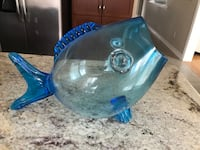 Italian large glass fish bowl
