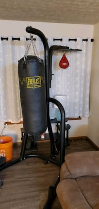 Heavy bag with speed bag and stand