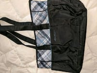 black and gray plaid print tote bag Apple Valley