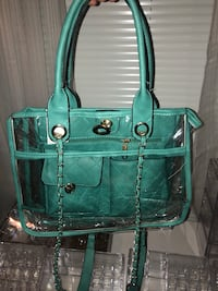 teal leather two-way handbag