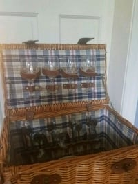 Picnic basket, stocked with dishes/wine glasses