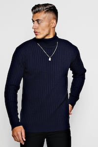 NAVY BLUE BOOHOO MENS TURTLENECK  543 km