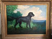 "Beautiful painting of a Black Lab.  Frame is 58"" wide by 47"" high Kensington, 20895"
