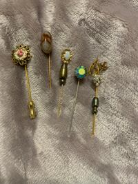 Antique gold Seed pearl, petit point and other stick pins!