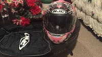 Pink-black and white hjc full face motorcycle helmet 44 km