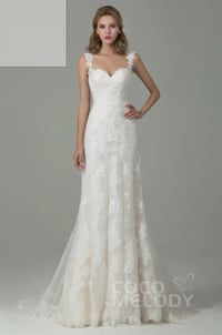 White Sheath-Column Lace Wedding Dress from CoCoMelody, Tall Size 2