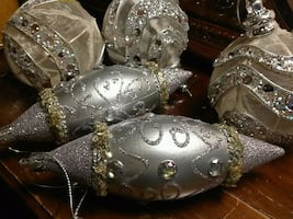 Silver diamond shape ornaments