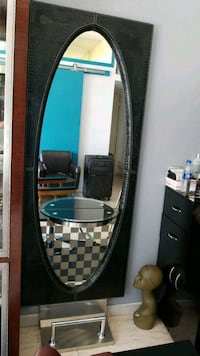oval black wooden frame wall mirror Queens, 11432
