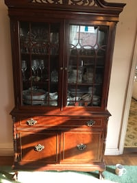 brown wooden framed glass display cabinet New York, 11358