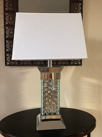 """28"""" Contemporary Mirror Encased & Floating Crystal Jewels Table Lamp  Olathe, 66062"""