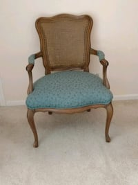 brown wooden framed blue padded armchair Hinsdale, 60521