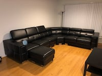 Black leather sectional couch with ottoman לוס אנג'לס, 91316