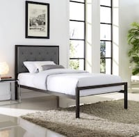 METAL BEDS WITH A GREY TUFTING HEADBOARD SINGLE DOUBLE OR QUEEN SIZE Toronto, M6M