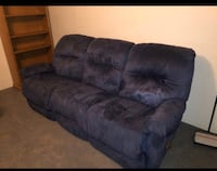 Blue suede couch