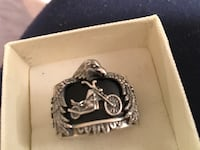 925 heavy onyx motorcycle ring