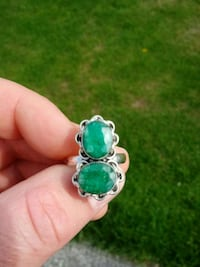 silver-colored and green gemstone ring Rochester, 98579