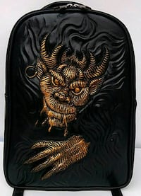 black and brown devil emboss leather backpack