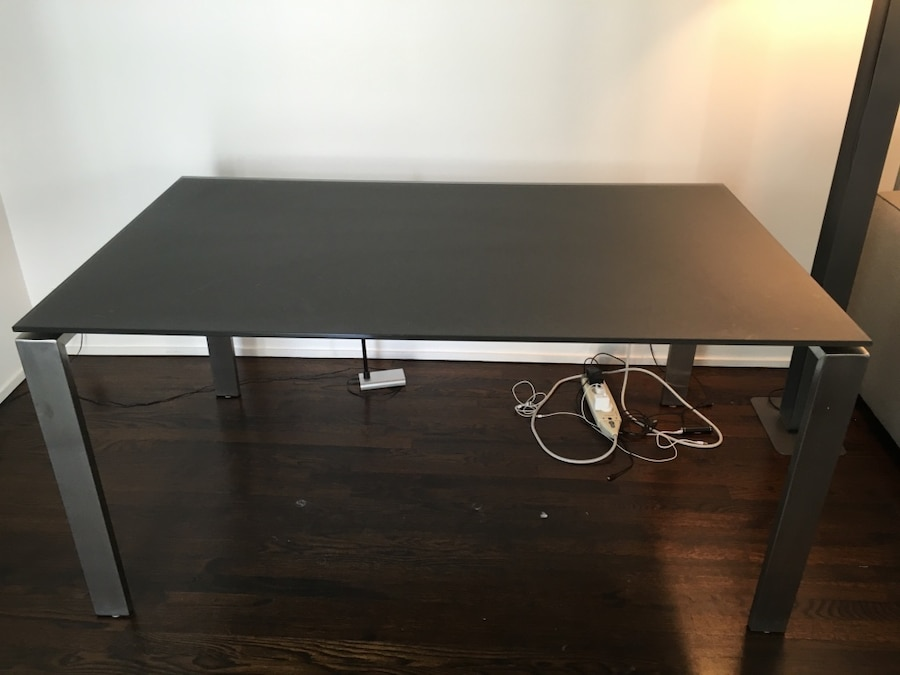 "room & board ""rand"" table/desk in stainless steel with grey glass"