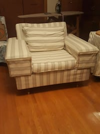 white and gray striped fabric sofa chair 522 km