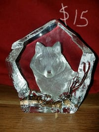 clear glass wolf table decor Des Moines, 50317