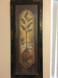Banana plant painting with brown wooden frame Yuma