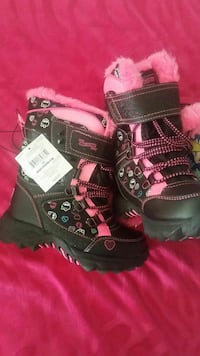 toddler's black-and-pink boots