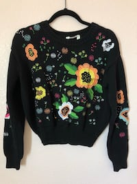 Hand stitched floral pullover sweater
